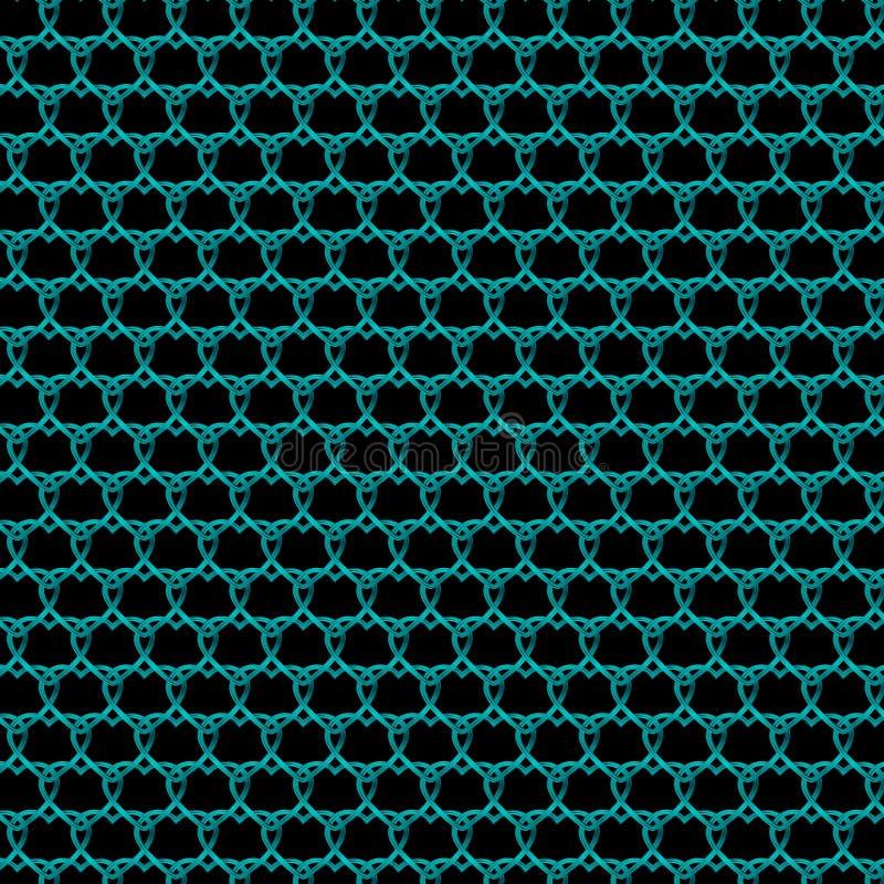 Przeplatający się metalowy wzór jasnoniebieskich serc na czarnym tle obrazy stock