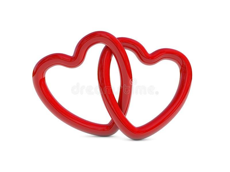 Download Przeplatani Czerwoni Serce Pierścionki Ilustracji - Ilustracja złożonej z miłość, kochankowie: 28958632