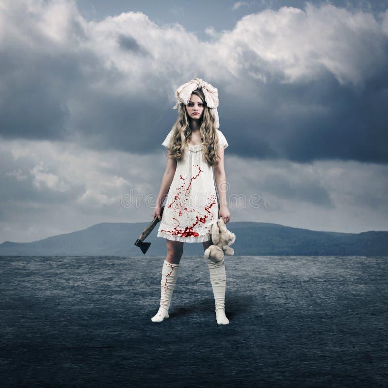 Przerażająca dziewczyny lala fotografia royalty free