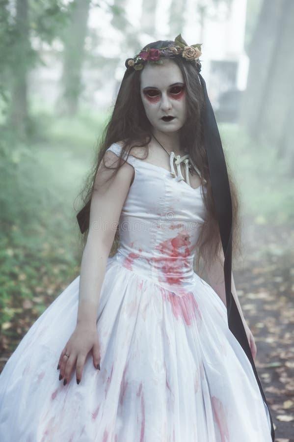 Przerażająca nieżywa panna młoda przeciw nietoperzom folującym Halloween nawiedzająca domowa księżyc bani scena obraz stock