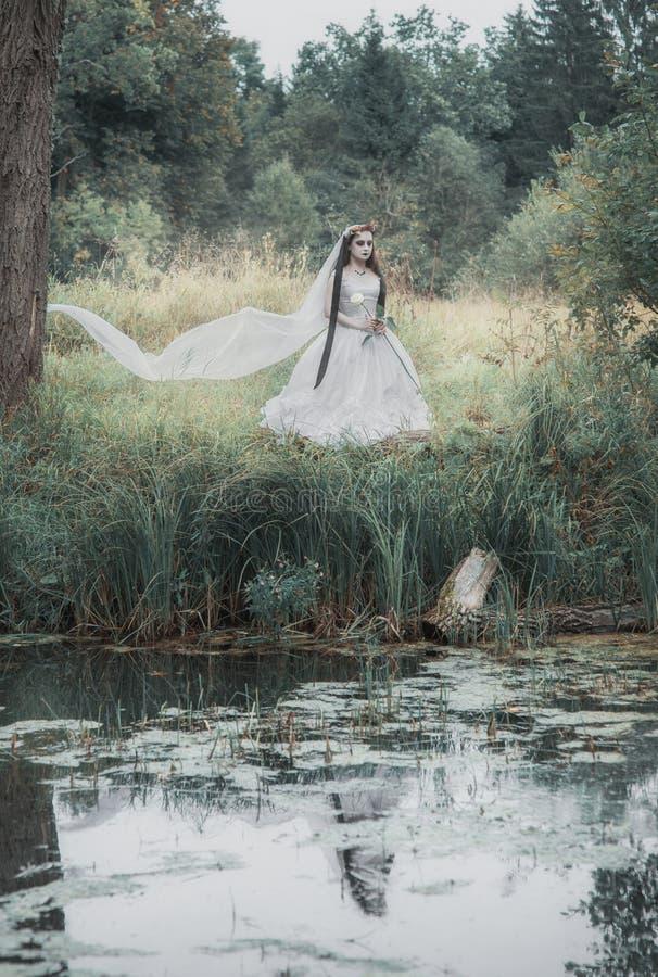 Przerażająca nieżywa panna młoda w lasowej Halloweenowej scenie obraz royalty free