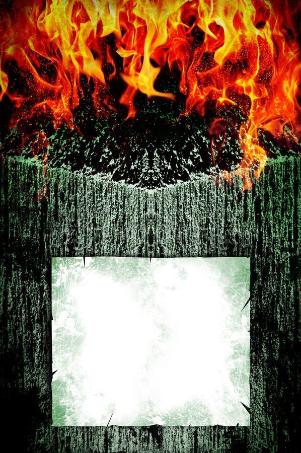 Przerażający ciemny tło i ogień royalty ilustracja
