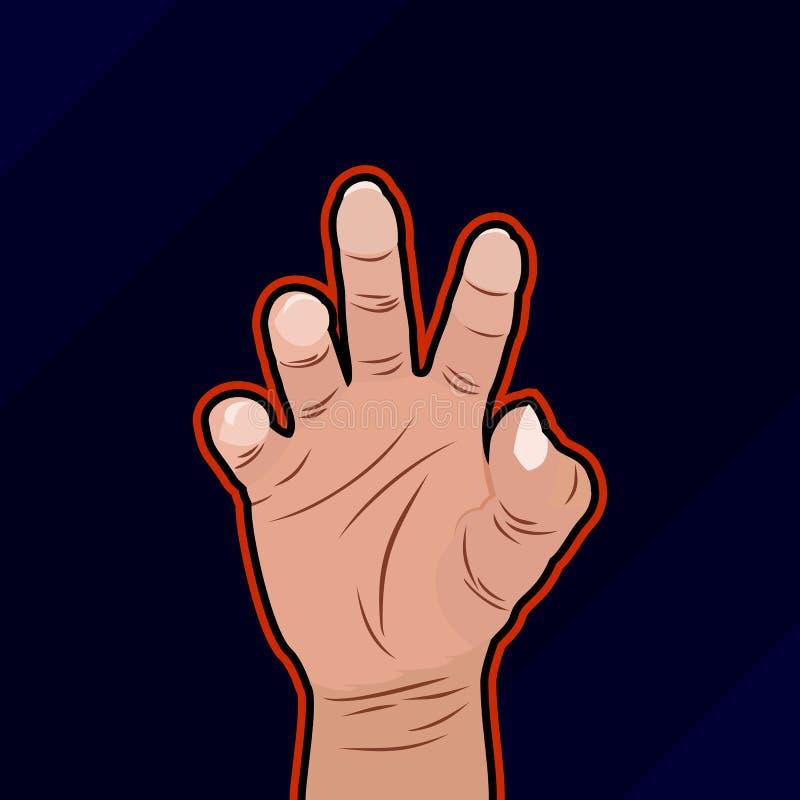 Przerażający ludzki ręki esport logo royalty ilustracja