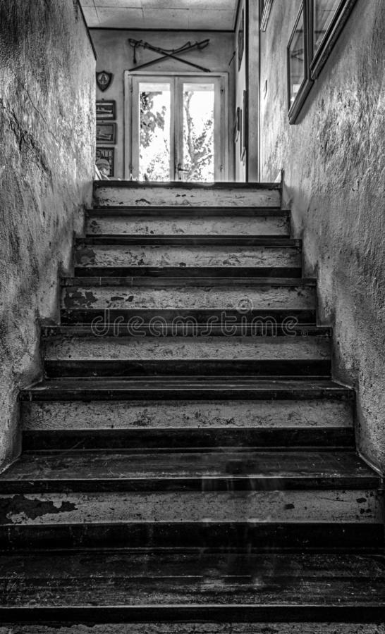 Przerażający schodki w czarny i biały zdjęcie stock
