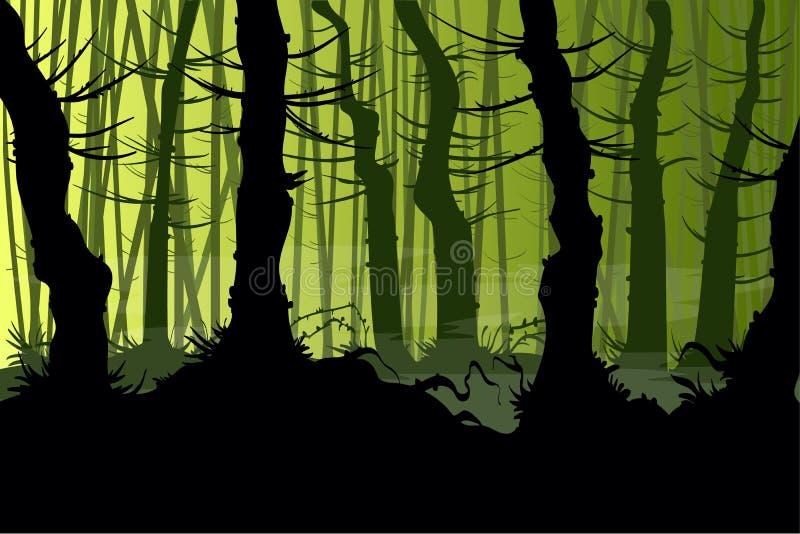 Przerażający wektorowy las ilustracja wektor