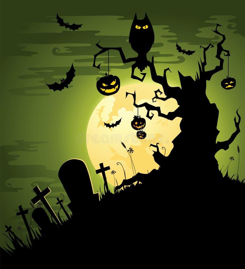 Przerażający zielony Halloweenowy tło ilustracji