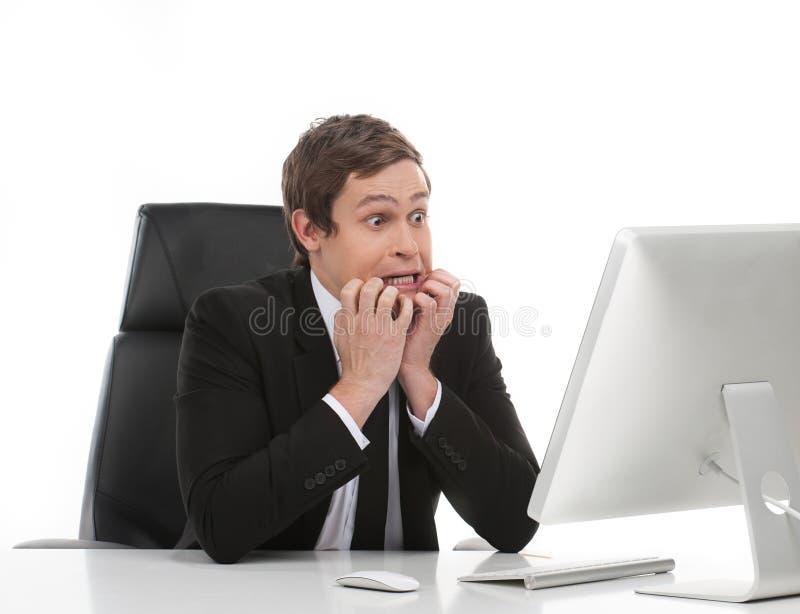 Przerażony biznesmen. zdjęcie stock