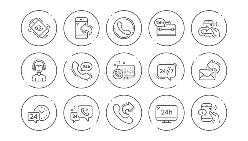 Przerobowej linii ikony Centrum telefonicznego, poparcia i gadki wiadomość, Liniowy ikona set wektor ilustracji