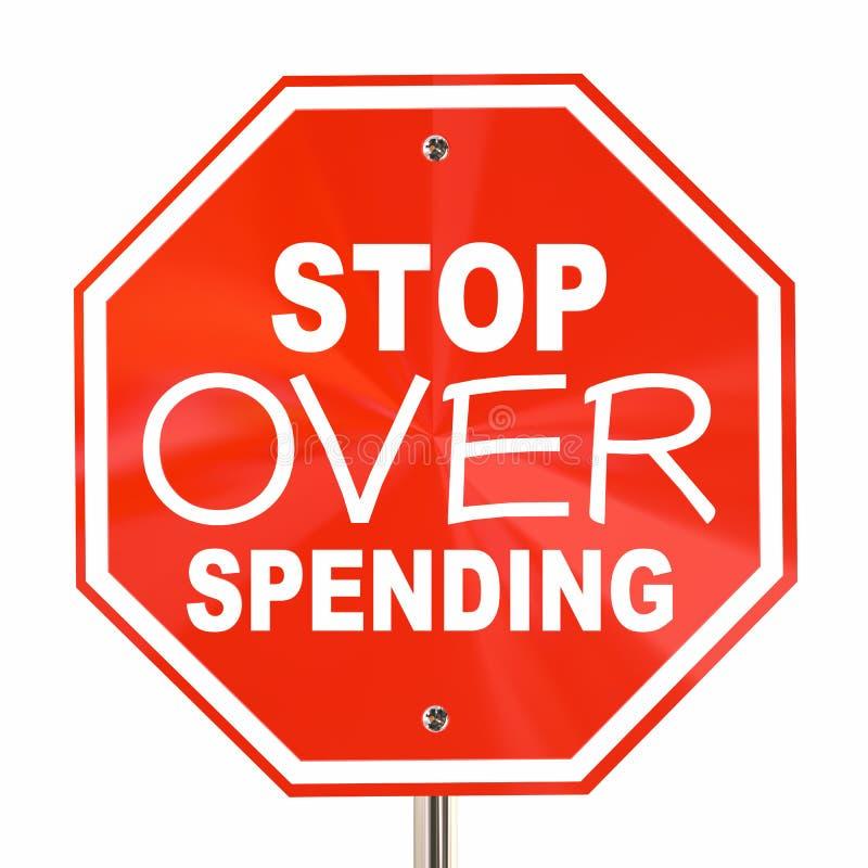 Przerwa Nad wydatki znaka Save Więcej pieniądze budżet royalty ilustracja