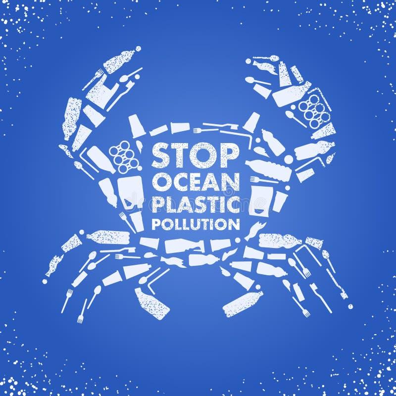 Przerwa oceanu klingerytu zanieczyszczenie Ekologiczny plakatowy krab komponujący biała klingerytu odpady torba, butelka na błęki ilustracja wektor