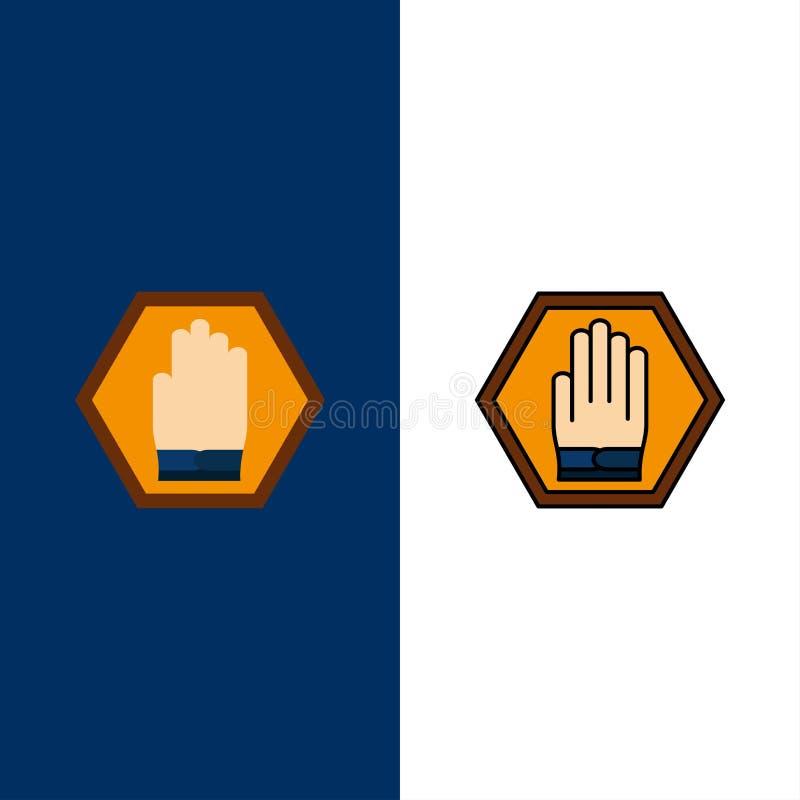 Przerwa, ręka, znak, ruch drogowy, Ostrzegawcze ikony Mieszkanie i linia Wypełniający ikony Ustalony Wektorowy Błękitny tło ilustracji