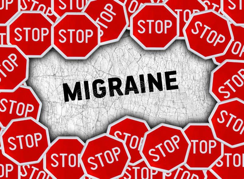 Przerwa szyldowa i słowo migrena obrazy stock