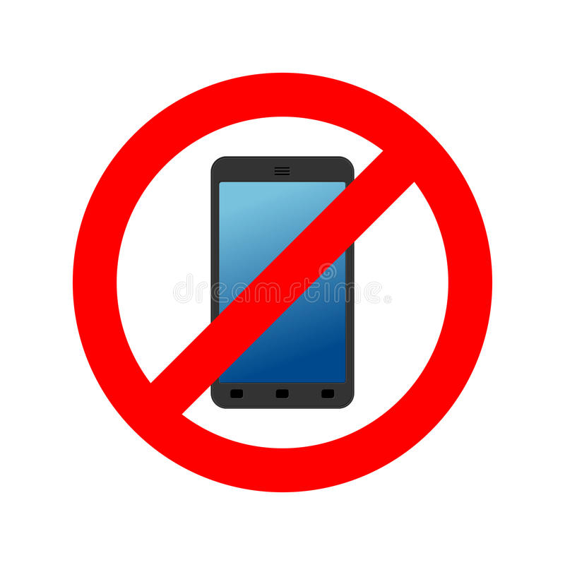 Przerwa telefon Ja zakazuje wezwanie Zakazu smartphone CZERWONY okrąg royalty ilustracja