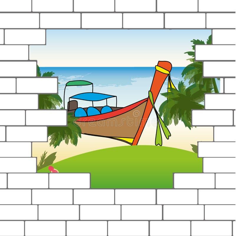 Przerwa w ściana z cegieł z piękną ocean plażą ilustracji