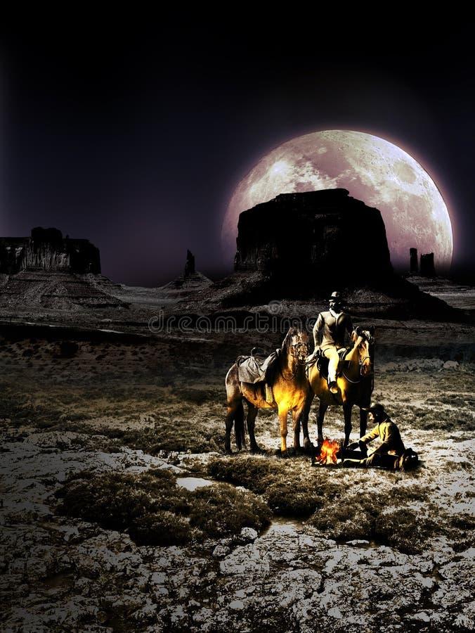 Przerwa w pustyni przy nocą ilustracja wektor