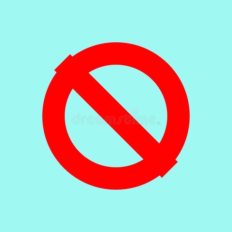 Przerwa wektoru ikona Krzyżujący okrąg czerwony znak stop _ royalty ilustracja