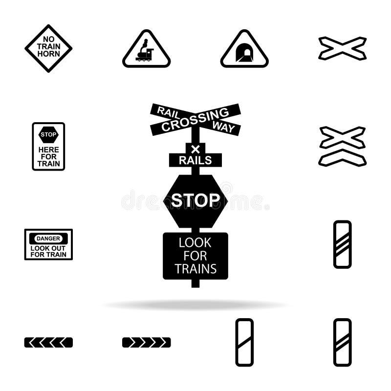 przerwa znaka pociągu ikona Kolejowy ostrzeżenie ikon ogólnoludzki ustawiający dla sieci i wiszącej ozdoby royalty ilustracja