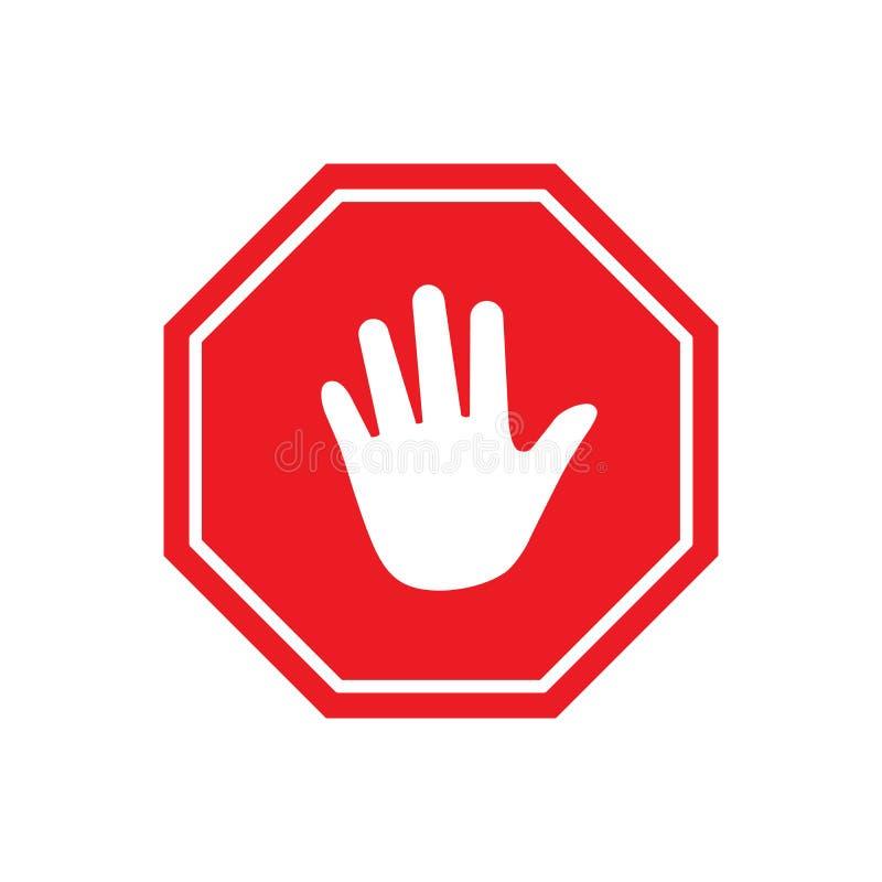Przerwy przerwy ręki Czerwony ośmioboczny znak dla zabronionych aktywność Wektorowa ilustracja odizolowywająca na biały tle royalty ilustracja