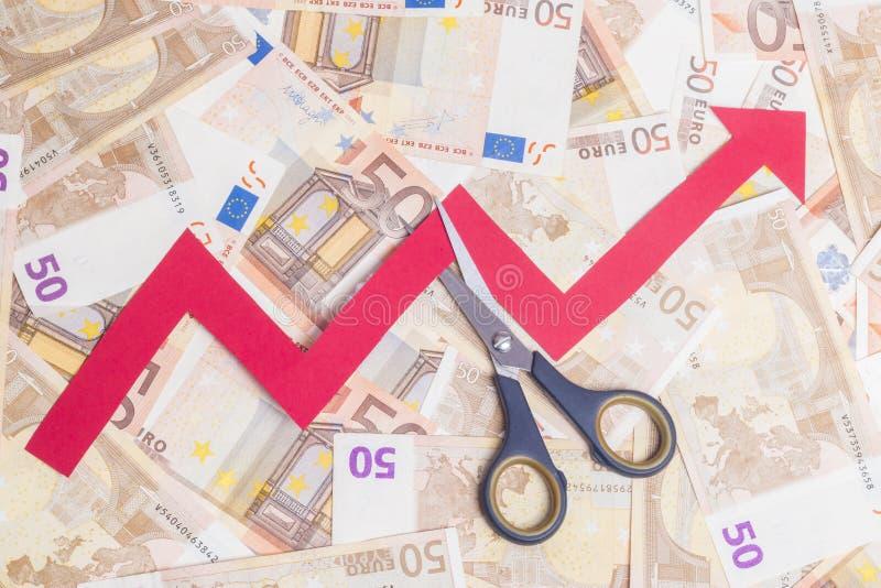 Przerwy wzrastająca euro wartość fotografia royalty free
