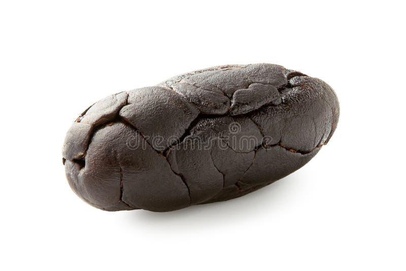 Przerzedżę piec obranej kakaowej fasoli odizolowywającej na bielu fotografia royalty free