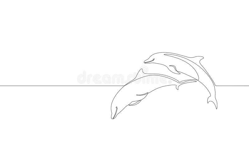 Przerzedże ciągłą kreskowej sztuki delfinu pływania skoku morską sylwetkę Natura oceanu ekologii życia środowiska pojęcie duży mo royalty ilustracja