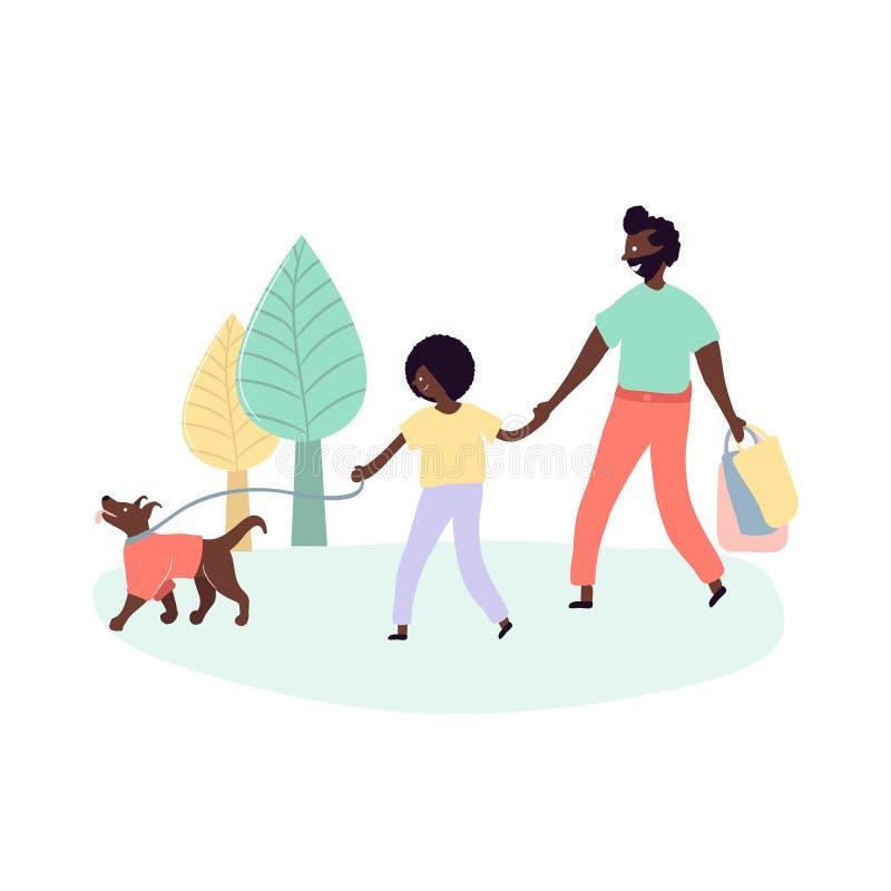 Przerzedże czarnych ojca i syna amerykan afrykańskiego pochodzenia chodzi outdoors na ulica parku z psem ilustracji