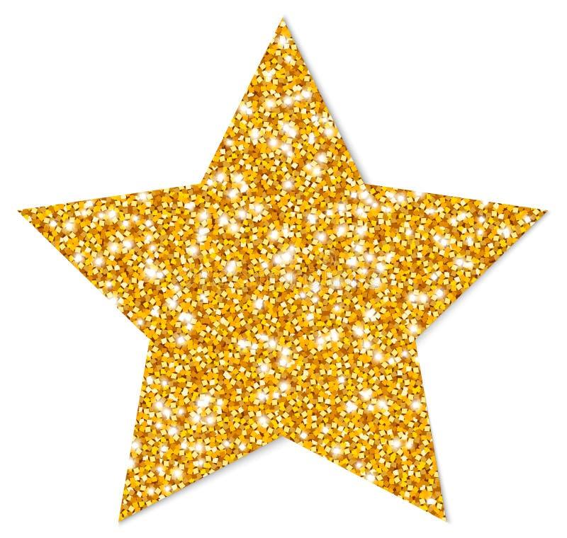 Przerzedże Odosobnionego Złotego Gwiazdowego lśnienie Z cieniem ilustracji