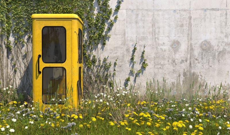 Przerzedże stary żółty telefonu budka w retro stylu w zaniechanym miejscu z trawą na lecie su, przerastającą z świrzepami i wildf obraz stock
