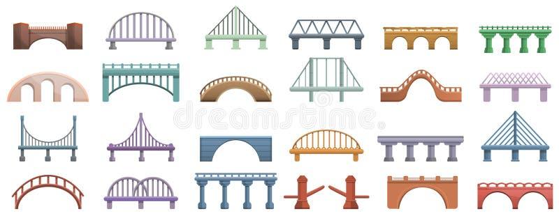 Przerzuca most ikony ustawiać, kreskówka styl ilustracja wektor