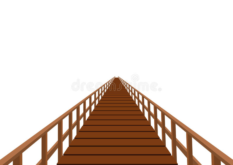 przerzuca most poręcz drewnianego ilustracji