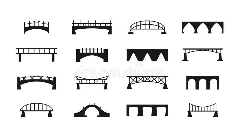 Przerzuca most wektorowe ikony ustawiać royalty ilustracja