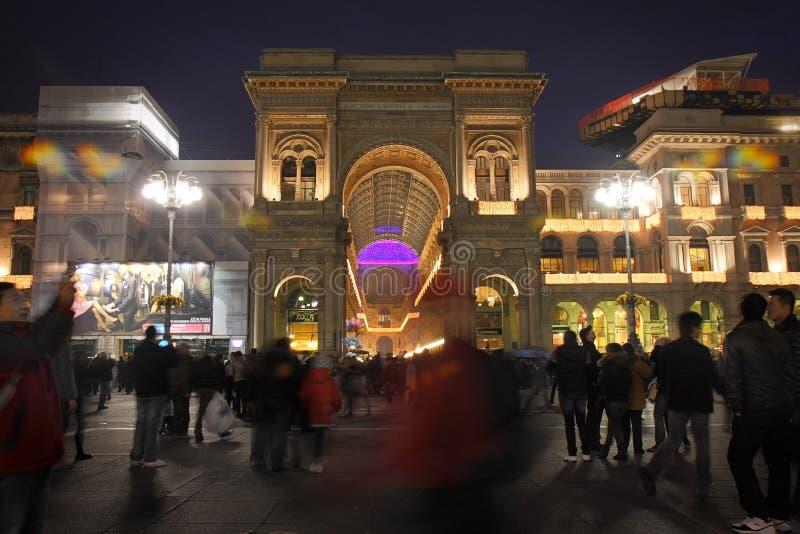 Przesławny przyjęcie, ` Duomo ` kwadrat w Mediolan obraz royalty free