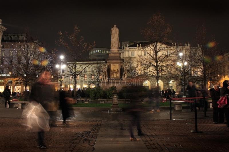 Przesławny przyjęcie, ` piazza della Scala ` kwadrat w Mediolan fotografia royalty free