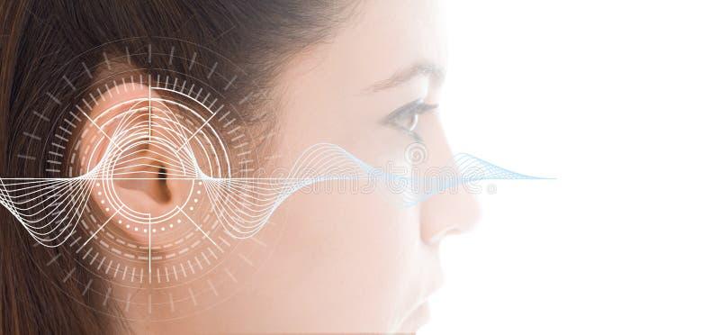 Przesłuchanie test pokazuje ucho młoda kobieta z rozsądnych fala symulaci technologią fotografia royalty free