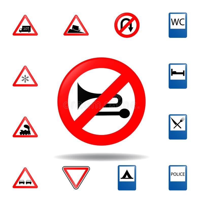 Przesadnego noiser zabroniona ikona set drogowych znaków ikona dla mobilnych pojęcia i sieci apps barwionego przesadnego noiser z ilustracji
