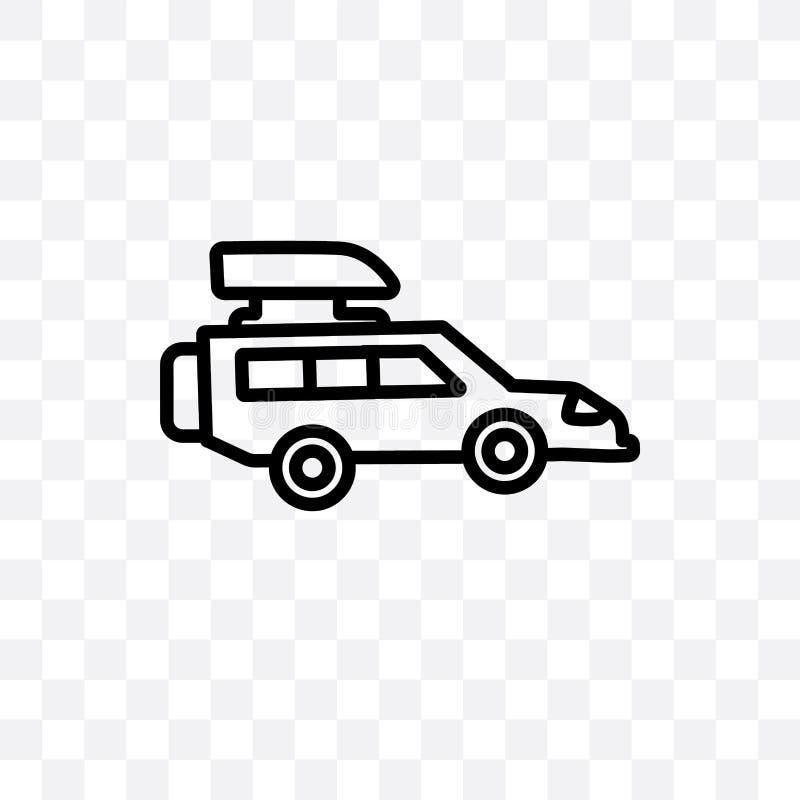 Przesadny ciężar dla pojazd wektorowej liniowej ikony odizolowywającej na przejrzystym tle, Przesadny ciężar dla pojazdu transpar ilustracji