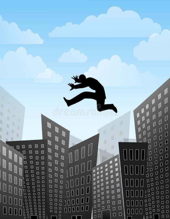 przeskakuje nad najwyższym budynków ilustracji