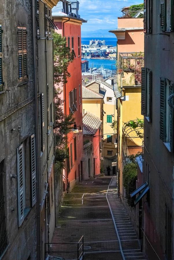 Przesmyk stroma aleja w centrum miasta genua zdjęcie royalty free