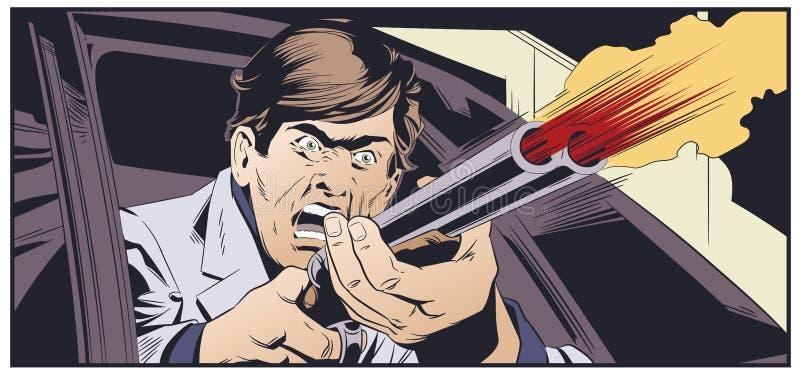 Przestępca z pistoletem w samochodzie tła jaskrawy ilustracyjny pomarańcze zapas ilustracji