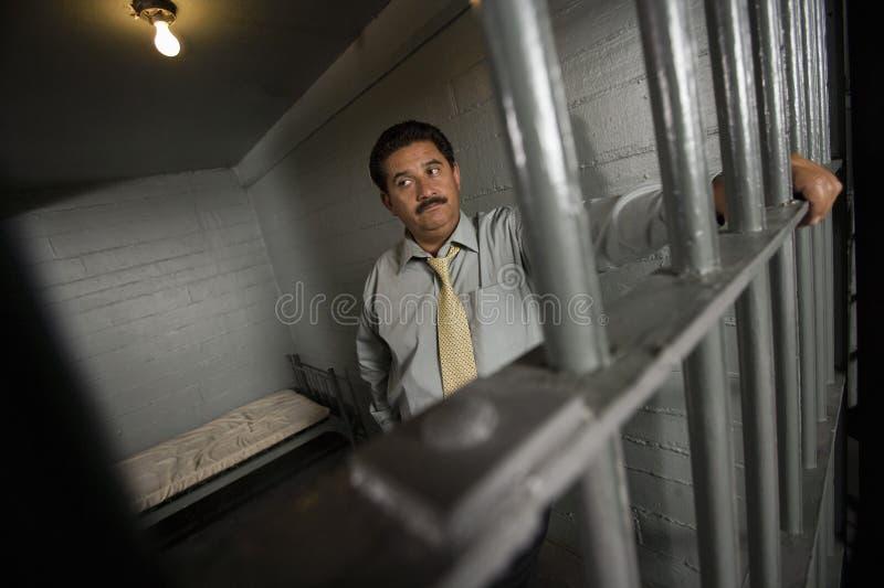Przestępca Za barami W więzieniu fotografia royalty free