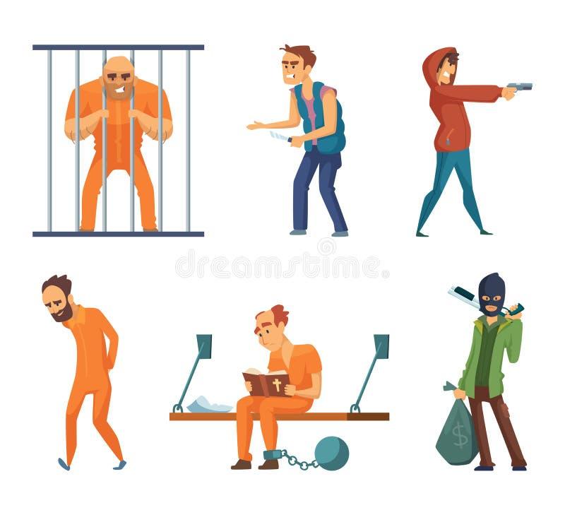Przestępcy i więźniowie Set charaktery w kreskówka stylu ilustracji