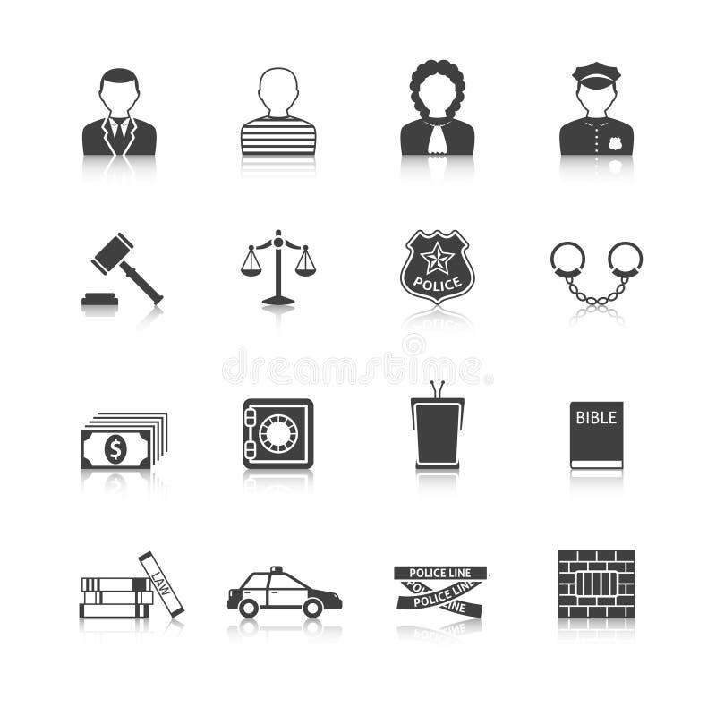 Przestępstwa i kar ikony Ustawiać ilustracja wektor