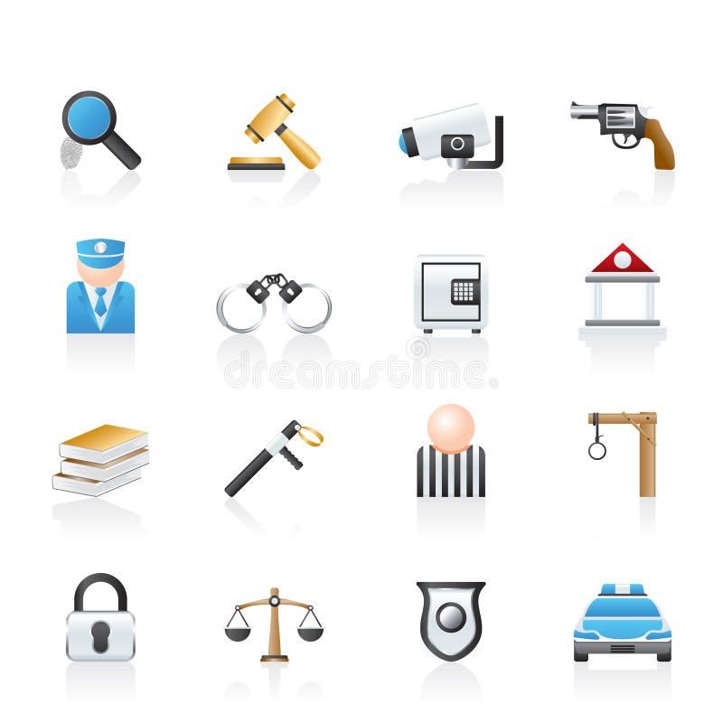 przestępstwa ikon prawa policja ilustracji