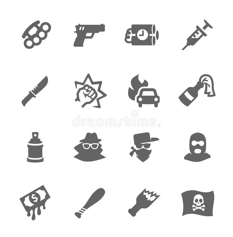 Przestępstwo ikony ilustracji