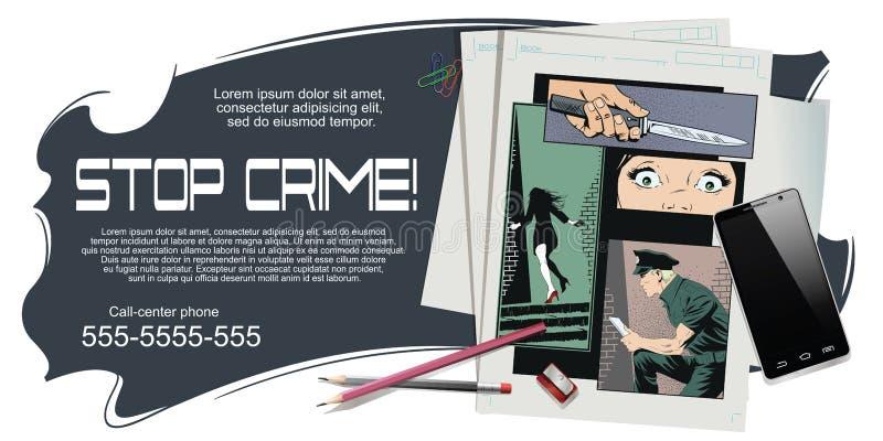 Przestępstwo kolaż Kobiety ofiara przestępca royalty ilustracja