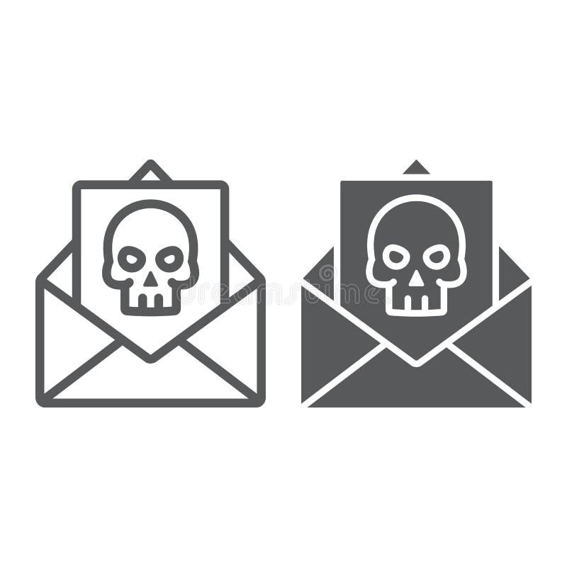 Przestępstwo listu linia i glif ikona, straszny i nutowy, poczta znak, wektorowe grafika, liniowy wzór na białym tle ilustracji