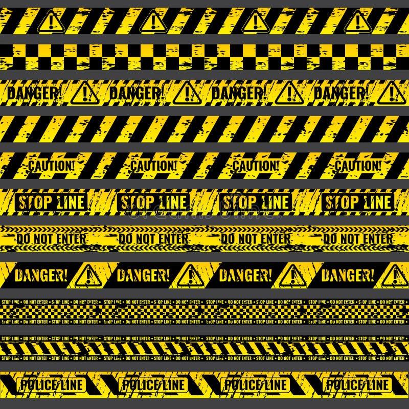 Przestępstwo sceny wypadkowa ostrożność, ostrzegający milicyjne wektorowe grungy koloru żółtego i czerni taśmy royalty ilustracja