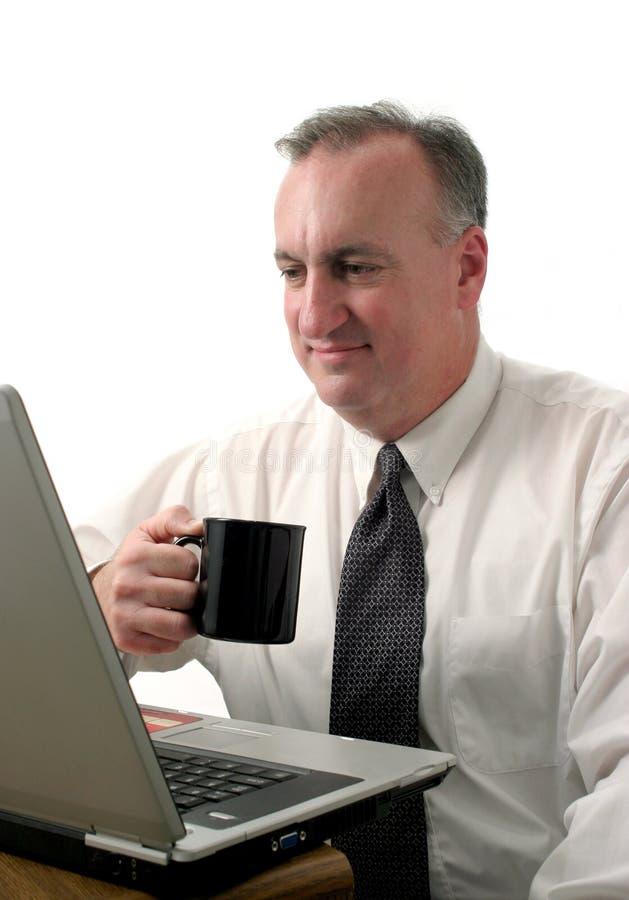 Przestań Laptopa Interesy Ludzi Kawy Obraz Royalty Free