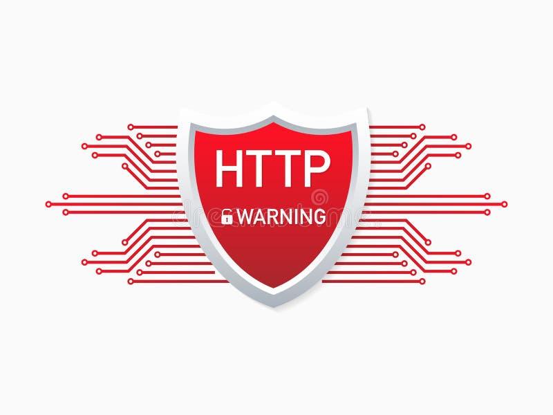 Przestarzały i niebezpieczny HTTP protokół Ostrzeżenie wyłaczać HTTPS Bezpieczne i Bezpiecznie strony internetowe na internecie r ilustracja wektor