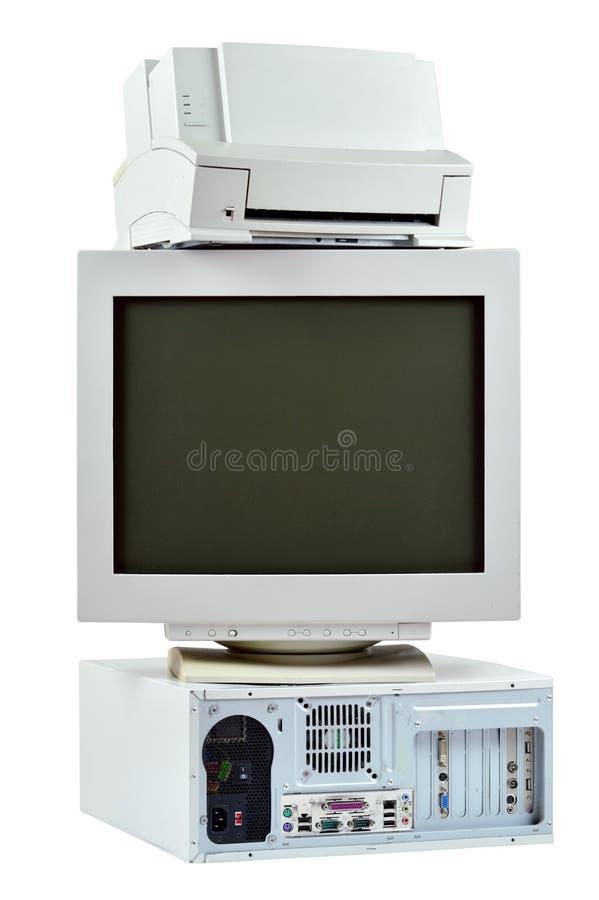 Przestarzały peceta komputer, drukarka i CRT, monitorujemy zdjęcie stock